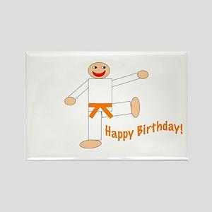 Orange Belt Kicking Guy Birthday Rectangle Magnet