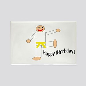 Yellow Belt Kicking Guy Birthday Rectangle Magnet