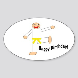 Yellow Belt Kicking Guy Birthday Oval Sticker