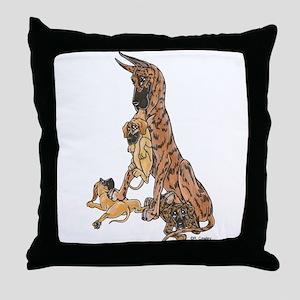 CBrdl w/ pups Throw Pillow