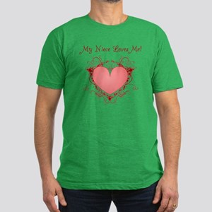 My Niece Loves Me Heart Men's Fitted T-Shirt (dark