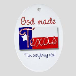 God Made Texas Oval Ornament