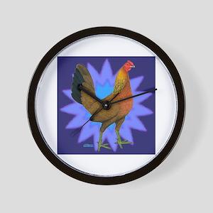 Starburst Gamefowl Hen Wall Clock