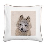 Cairn Terrier Puppy Square Canvas Pillow