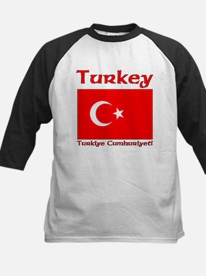 Turkey Flag Turkiye Cumhuiyet Kids Baseball Jersey