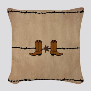 Cowboy Boots Woven Throw Pillow