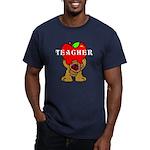 Teachers Apple Bear Men's Fitted T-Shirt (dark)