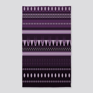Dark Purple Tribal Design Area Rug