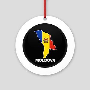 Flag Map of Moldova Ornament (Round)