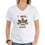 I Love Kubb Women's V-Neck T-Shirt