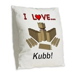 I Love Kubb Burlap Throw Pillow