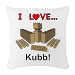 I Love Kubb Woven Throw Pillow