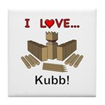 I Love Kubb Tile Coaster