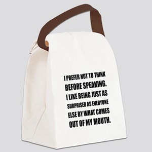 Think Before Speaking Surprise Canvas Lunch Bag