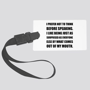 Think Before Speaking Surprise Luggage Tag