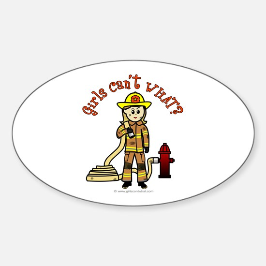 Blonde Firefighter Girl Sticker (Oval)