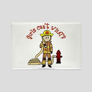 Blonde Firefighter Girl Rectangle Magnet