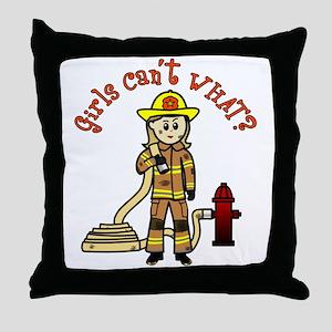 Blonde Firefighter Girl Throw Pillow