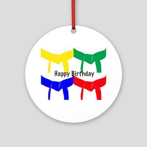 Martial Arts Happy Birthday Ornament (Round)