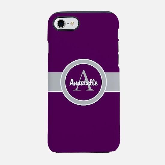 Purple Gray Monogram Personalized iPhone 7 Tough C