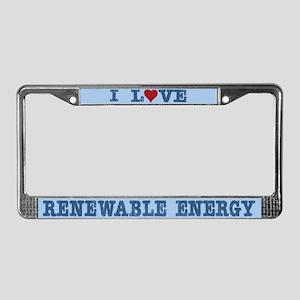 I Love Renewable Energy License Plate Frame