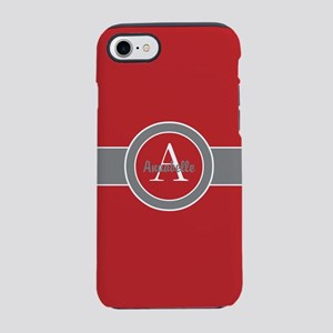 Red Gray Monogram Personalized iPhone 7 Tough Case