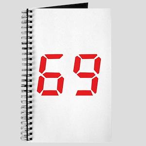 69 sixty-nine red alarm clock Journal