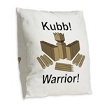 Kubb Warrior Burlap Throw Pillow