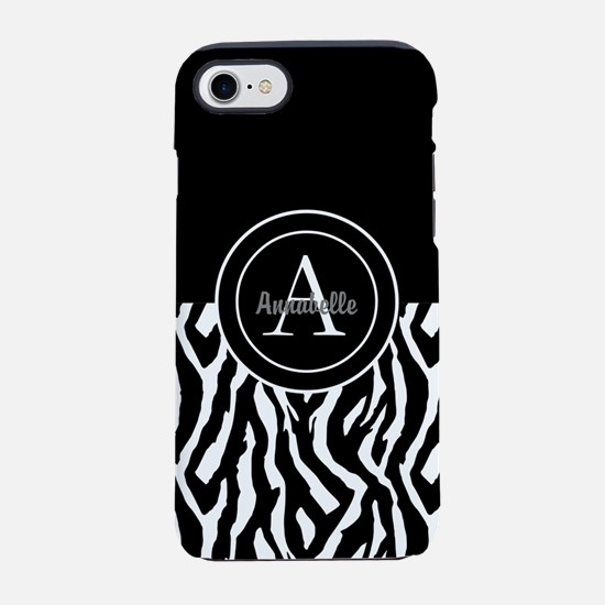 Black White Zebra Monogram Personalized iPhone 7 T