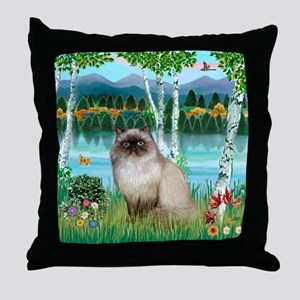 Birches / Himalayan Cat Throw Pillow