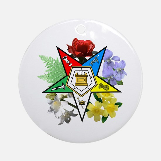 Eastern Star Floral Emblems Ornament (Round)