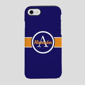 Navy Blue Orange Monogram Personalized iPhone 7 To