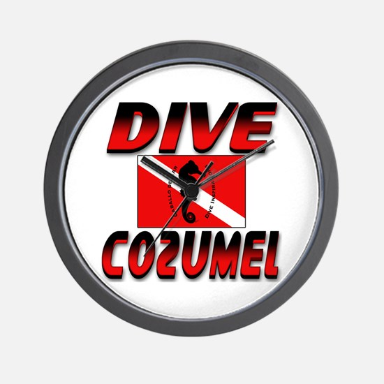 Dive Cozumel (red) Wall Clock