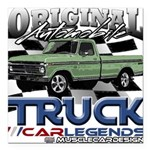 Green Truck Square Car Magnet 3