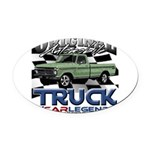 Green Truck Oval Car Magnet