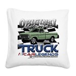 Green Truck Square Canvas Pillow
