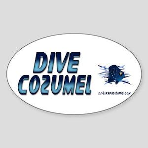 Dive Cozumel (blue) Oval Sticker