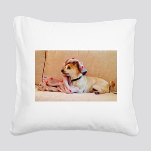 Cute Dog on Couch 4Alice Square Canvas Pillow