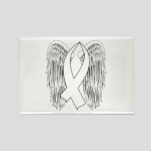 Winged Awareness Ribbon (White) Magnets