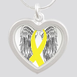 Winged Awareness Ribbon (Yellow) Necklaces