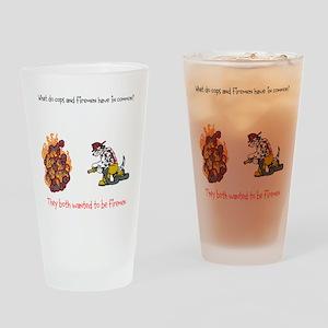 Firemen vs Cops Drinking Glass