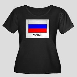 Russia Flag Women's Plus Size Scoop Neck Dark T-Sh