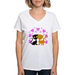 Kitty Cat Love Women's V-Neck T-Shirt