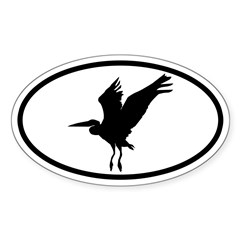 Heron Oval Oval Decal