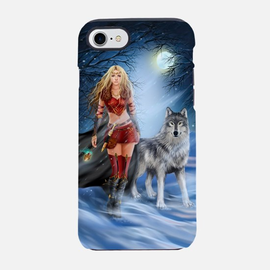 Warrior Woman and Wolf iPhone 7 Tough Case