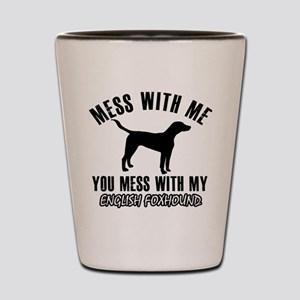 English Foxhound dog breed designs Shot Glass