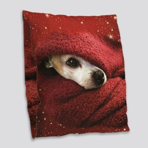 Holiday Chihuahua Burlap Throw Pillow