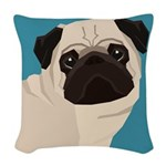 Pug Woven Throw Pillow