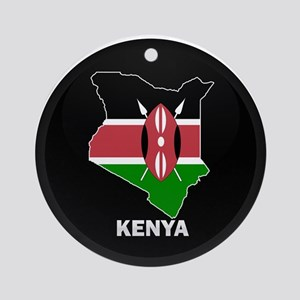Flag Map of kenya Ornament (Round)