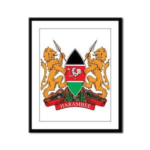 kenya Coat of Arms Framed Panel Print